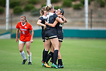 Kahla Seymour (right) is congratulated by teammates after scoring a goal during second half action against the Clemson Tigers at Riggs Field on October 22 2017 in Clemson, South Carolina.  The Tigers defeated the Demon Deacons 2-1. (Brian Westerholt/Sports On Film)