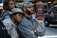 Military members watch the annual Veterans Day parade in New York.  10.11.2014. Eduardo Munoz Alvarez/VIEWpress