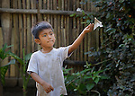 A boy throws a folded paper airplane in Zipolite, a town in Oaxaca, Mexico.