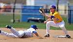 BROOKINGS, SD - MAY 9: Zach Coppola #19 for South Dakota State dives into second as Jameson Henning #36 from Western Illinois waits for the ball Friday afternoon in Brookings. (Photo by Dave Eggen/Inertia)