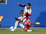 Real Salt Lake forward Jou Plata (8) and FC Dallas defender Jair Benitez (5) in action during the game between the FC Dallas and the Real Salt Lake at the FC Dallas Stadium in Frisco,Texas.
