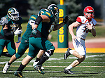 SPEARFISH, SD - SEPTEMBER 17: Dixie State quarterback Josh Thompson #16 tries to evade Black HIlls State defenders during their college football game Saturday September 17, 2016 at Lyle Hare Stadium in Spearfish, S.D.  (Photo by Dick Carlson/Inertia)