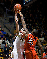 David Kravish of California shoots the ball during the game against Oregon State Beavers at Haas Pavilion in Berkeley, California on January 31st, 2013.  California defeated Oregon State, 71-68.