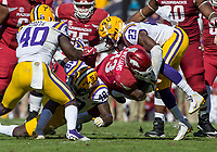 NWA Democrat-Gazette/BEN GOFF @NWABENGOFF<br /> Donnie Alexander (48) and Corey Thompson (23), LSU defenders, tackle David Williams, Arkansas running back, in the third quarter Saturday, Nov. 11, 2017 at Tiger Stadium in Baton Rouge, La.