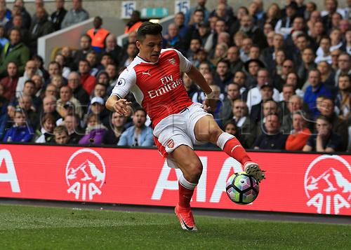 April 30th 2017, White Hart Lane, Tottenham, London England; EPL Premier League football Tottenham Hotspur versus Arsenal; Alexis Sanchez of Arsenal controls the ball