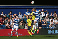 Blackburn Rovers' Joe Nuttall and Queens Park Rangers' Joel Lynch<br /> <br /> Photographer Rob Newell/CameraSport<br /> <br /> The EFL Sky Bet Championship - Queens Park Rangers v Blackburn Rovers - Friday 19th April 2019 - Loftus Road - London<br /> <br /> World Copyright © 2019 CameraSport. All rights reserved. 43 Linden Ave. Countesthorpe. Leicester. England. LE8 5PG - Tel: +44 (0) 116 277 4147 - admin@camerasport.com - www.camerasport.com