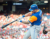 New York Mets third baseman Asdrubal Cabrera (13) doubles to left field in the eighth inning against the Washington Nationals at Nationals Park in Washington, D.C. on Saturday, August 26, 2017.  The Nationals won the game 9 - 4.<br /> Credit: Ron Sachs / CNP<br /> (RESTRICTION: NO New York or New Jersey Newspapers or newspapers within a 75 mile radius of New York City)