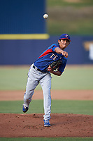 AZL Rangers relief pitcher Wei-Chieh Huang (24) during a rehab assignment in an Arizona League game against the AZL Brewers Blue on July 11, 2019 at American Family Fields of Phoenix in Phoenix, Arizona. The AZL Rangers defeated the AZL Brewers Blue 5-2. (Zachary Lucy/Four Seam Images)