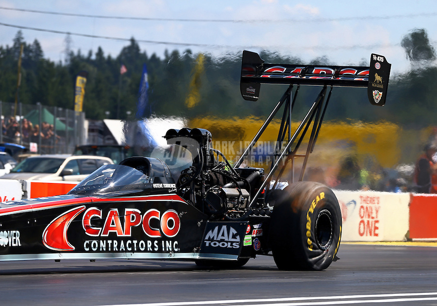 Aug. 4, 2013; Kent, WA, USA: NHRA top fuel dragster driver Steve Torrence during the Northwest Nationals at Pacific Raceways. Mandatory Credit: Mark J. Rebilas-USA TODAY Sports
