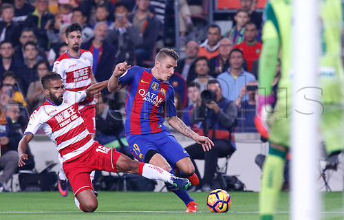 29.10.2016 Barcelona. La Liga football league. Dignei challenged by Carcela-González during the league game between FC Barcelona against Granada CF at camp nou