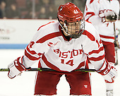Bobo Carpenter (BU - 14) - The Boston University Terriers defeated the visiting Merrimack College Warriors 4-0 (EN) on Friday, January 29, 2016, at Agganis Arena in Boston, Massachusetts.
