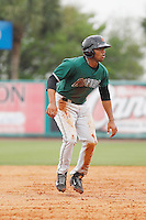 Augusta GreenJackets infielder Cristian Paulino (9) during a game against the Charleston Riverdogs at Joseph P.Riley Jr. Ballpark on April 15, 2015 in Charleston, South Carolina. Charleston defeated Augusta 8-0. (Robert Gurganus/Four Seam Images)