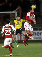 Fleetwood Town's Craig Morgan out-jumps Oxford United's Jamie Mackie<br /> <br /> Photographer Rich Linley/CameraSport<br /> <br /> The EFL Sky Bet League One - Fleetwood Town v Oxford United - Saturday 12th January 2019 - Highbury Stadium - Fleetwood<br /> <br /> World Copyright &copy; 2019 CameraSport. All rights reserved. 43 Linden Ave. Countesthorpe. Leicester. England. LE8 5PG - Tel: +44 (0) 116 277 4147 - admin@camerasport.com - www.camerasport.com