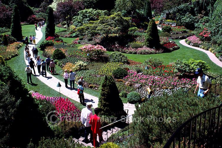 Butchart Gardens at Brentwood Bay near Victoria, BC, Vancouver Island, British Columbia, Canada - Sunken Garden, Summer Flowers