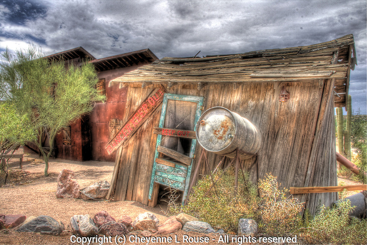 Old dynamite shack at ghost town - Goldfield, Arizona