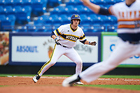 Michigan Wolverines first baseman Carmen Benedetti (43) leads off first during the first game of a doubleheader against the Canisius College Golden Griffins on June 20, 2016 at Tradition Field in St. Lucie, Florida.  Michigan defeated Canisius 6-2.  (Mike Janes/Four Seam Images)