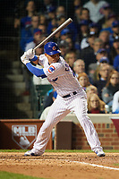 Chicago Cubs Willson Contreras (40) bats in the seventh inning during Game 3 of the Major League Baseball World Series against the Cleveland Indians on October 28, 2016 at Wrigley Field in Chicago, Illinois.  (Mike Janes/Four Seam Images)