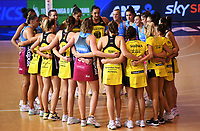 4th July 2020, Auckland, New Zealand;  Teams huddle together at the end of the match.<br /> Central Pulse versus Southern Steel. ANZ Premiership Netball. Auckland Netball Centre, Saturday 4 July 2020.