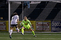 Rochester, NY - Friday April 29, 2016: Washington Spirit forward Diana Matheson (8) and Western New York Flash goalkeeper Sabrina D'Angelo (1). The Washington Spirit defeated the Western New York Flash 3-0 during a National Women's Soccer League (NWSL) match at Sahlen's Stadium.