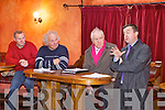 MEETING: Minister for the OPW, Brian Hayes (right) makes his case at a meeting of north Kerry residents about flooding along the Cashen River with l-r: David McMahon, Ned Browne, Minister Jimmy Deenihan.