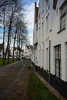 Begijnhof Inside Yard In Brugge, Belgium