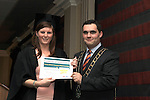 Mayor Kevin Callan presents Emma Connor with her ESLO Certificate in the Westcourt Hotel...(Photo credit should read Jenny Matthews www.newsfile.ie)....This Picture has been sent you under the conditions enclosed by:.Newsfile Ltd..The Studio,.Millmount Abbey,.Drogheda,.Co Meath..Ireland..Tel: +353(0)41-9871240.Fax: +353(0)41-9871260.GSM: +353(0)86-2500958.email: pictures@newsfile.ie.www.newsfile.ie.