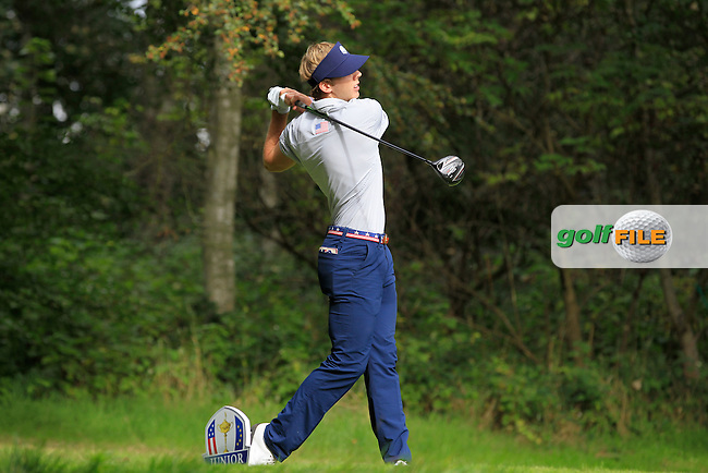 Sam Burns (USA) on the 16th tee during Day 2 Singles for the Junior Ryder Cup 2014 at Blairgowrie Golf Club on Tuesday 23rd September 2014.<br /> Picture:  Thos Caffrey / www.golffile.ie