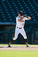 Surprise Saguaros left fielder Bryan Reynolds (10), of the Pittsburgh Pirates organization, at bat during an Arizona Fall League game against the Glendale Desert Dogs at Surprise Stadium on November 13, 2018 in Surprise, Arizona. Surprise defeated Glendale 9-2. (Zachary Lucy/Four Seam Images)