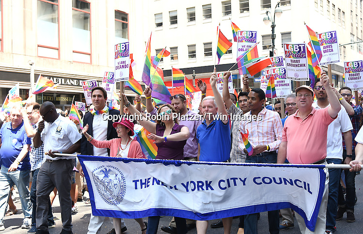 New York City Council attends the New York City Gay Pride March 2016 on June 26, 2016 on Fifth Avenue in New York City, New York, USA.<br /> <br /> photo by Robin Platzer/Twin Images<br />  <br /> phone number 212-935-0770