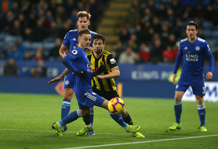 Leicester City's James Maddison and Watford's Kiko Femenia <br /> <br /> Photographer Stephen White/CameraSport<br /> <br /> The Premier League - Leicester City v Watford - Saturday 1st December 2018 - King Power Stadium - Leicester<br /> <br /> World Copyright © 2018 CameraSport. All rights reserved. 43 Linden Ave. Countesthorpe. Leicester. England. LE8 5PG - Tel: +44 (0) 116 277 4147 - admin@camerasport.com - www.camerasport.com