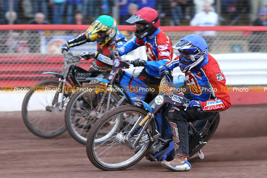 Heat 8: Lubos Tomicek (blue), Leigh Lanham (red) and Lewis Bridger (green) - Lakeside Hammers vs Belle Vue Aces at The Arena Essex Raceway, Lakeside - 04/07/08 - MANDATORY CREDIT: Rob Newell/TGSPHOTO
