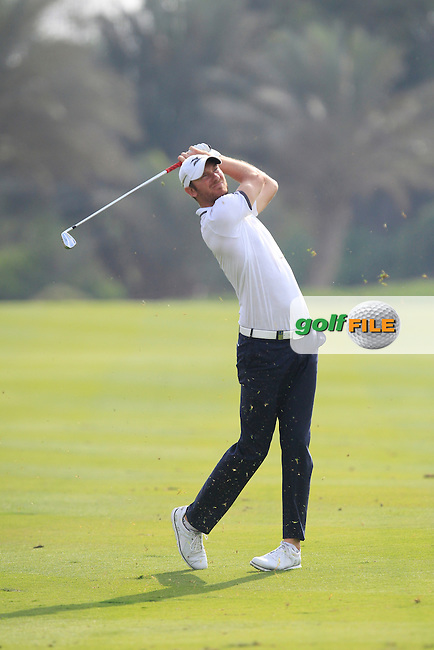 Chris Wood (ENG) on the 13th fairway during Round 1 of the Abu Dhabi HSBC Championship on Thursday 19th January 2017.<br /> Picture:  Thos Caffrey / Golffile<br /> <br /> All photo usage must carry mandatory copyright credit     (&copy; Golffile | Thos Caffrey)