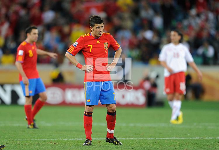 Davi Villa of Spain looks dejected
