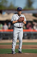 Lancaster JetHawks starting pitcher Ty Culbreth (11) checks a runner at first base during a California League game against the San Jose Giants at San Jose Municipal Stadium on May 12, 2018 in San Jose, California. Lancaster defeated San Jose 7-6. (Zachary Lucy/Four Seam Images)