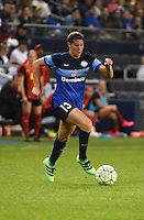 Kansas City, Kansas - Saturday April 16, 2016: FC Kansas City defender Brittany Taylor (13) moves the ball against the Western New York Flash in the second half at Children's Mercy Park. Western New York won 1-0.
