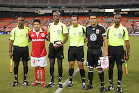Toluca FC. Antonio Matias and DC United Jaime Moreno with referees.  Toluca FC defeated DC United 3-1in the Concacaf Champions League tournament,at RFK Stadium Wednesday, August 26  2009.