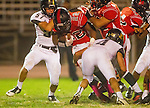 Inglewood, CA 10/09/14 - \p57\ and Christian Williams (Morningside #22) in action during the Palos Verdes Peninsula vs Morningside CIF Varsity football game at Coleman Field in Inglewood.  Peninsula defeated Morningside 24-13.