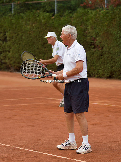 2013,August 21,Netherlands, Amstelveen,  TV de Kegel, Tennis, NVK 2013, National Veterans Tennis Championships,   mens doubles65+<br /> Photo: Henk Koster