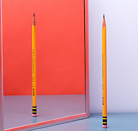 PENCIL REFLECTED IN PLANE MIRROR<br />