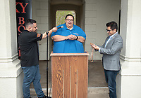 """Horacio Aceves, Academic Coordinator, Jesus Maldonado '00, Director, and Congressman Jimmy Gomez (CA-34).<br /> Upward Bound hosts their annual """"End of the Year"""" celebration with participants and their families on May 12, 2018 in the courtyard of Booth Hall. Jimmy Gomez, U.S. Representative for California's 34th congressional district, was the featured speaker at the event.<br /> Upward Bound was established at Occidental College in 1966 and has since served over 2000 first generation, low income students in the Los Angeles region.<br /> (Photo by Marc Campos, Occidental College Photographer)"""