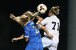 06 September 2013: UCLA's Megan Oyster (21), Samantha Mewis (behind) and North Carolina's Hanna Gardner (71) challenge for a header. The University of North Carolina Tar Heels played the University of California Los Angeles Bruins at Koskinen Stadium in Durham, NC in a 2013 NCAA Division I Women's Soccer match. UNC won the game 1-0.