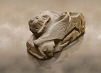 Alaca Hoyuk - Hittite lion sculpture corner Stone . Andesite. Alacahoyuk, 1399 - 1301 B.C. Anatolian Civilisations Museum, Ankara, Turkey.<br /> <br /> Corner stone with sculpted lion, bull and winged sun disk. It was discovered at the right side of the Alacahoyuk sphinx door. The lion puts his front legs on a small bull. There is a Hittite winged sun disk on the abdomen of the lion, which can be seen from a lower location. The position of the sun course indicates that the stone is situated in a high place.<br /> <br /> Against a brown art background.