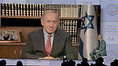 """In remarks before the General Assembly of the Jewish Federations of North America at the Washington Hilton in Washington, D.C. on Tuesday, November 15, 2016, Israeli Prime Minister Benjamin Netanyahu said """"I look forward to working with President-elect Trump to further the twin interests of peace and security"""" between the United States and Israel. Speaking of peace, the prime minster said """"the only way you get a workable and enduring peace is to have the parties agree to it."""" <br /> Credit: Ron Sachs / CNP"""