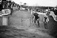 Sven Nys (BEL/Crelan-AAdrinks) battling it out with Wout Van Aert (BEL/Vastgoedservice-Golden Palace) for the race lead/win<br /> <br /> Duinencross Koksijde WorldCup 2015