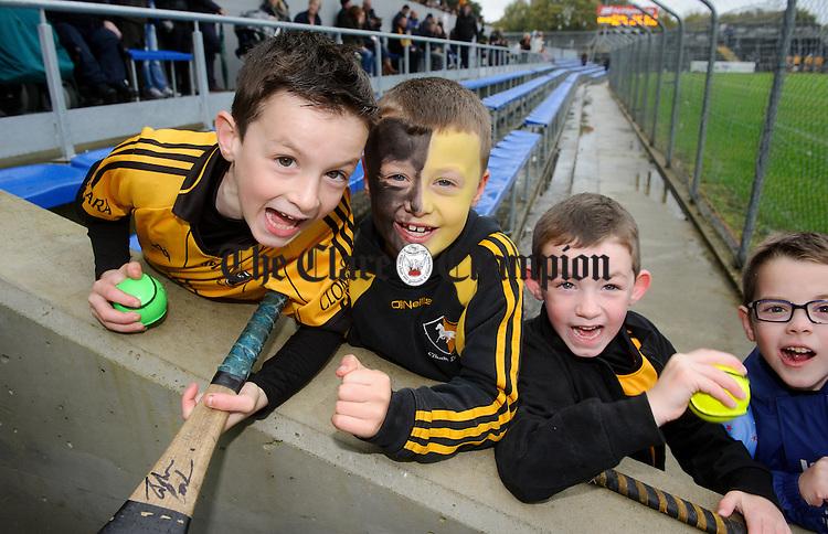 Young Clonlara fans before their senior county final against Ballyea at Cusack Park. Photograph by John Kelly.