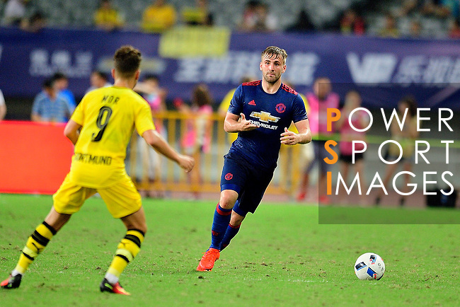 Manchester United defender Luke Shaw (r) during the International Champions Cup China 2016, match between Manchester United vs Borussia  Dortmund on 22 July 2016 held at the Shanghai Stadium in Shanghai, China. Photo by Marcio Machado / Power Sport Images