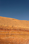 Israel, Negev. Coloured rock formations in Ramon crater