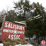 Salisbury, CT-06, February 2010-020610CM07  Nina Lussi (#68), from the New York Ski Educational Foundation, leaves the jump at Satré Hill in Salisbury Saturday afternoon.  The Salisbury Winter Sports Association was in it's 84th year of ski jumping.  The three day event included a Chili Cook off, Target Jumping, and the 9th Annual Ice Carving Competition.  The action continues today when the Eastern US Jumping Championships will take off at 1:00pm.    --Christopher Massa Republican-American