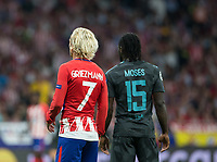 Atletico Madrid´s French forward Antoine Griezmann and Chelsea´s defense Victor Moses  during the UEFA Champions League group C match between Atletico Madrid and Chelsea played at the Wanda Metropolitano Stadium in Madrid, on September 27th 2017.