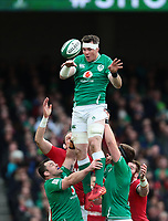 8th February 2020; Aviva Stadium, Dublin, Leinster, Ireland; International Six Nations Rugby, Ireland versus Wales; Peter O'Mahony (Ireland) lays back the lineout ball